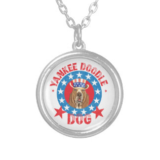 Patriotic Basset Silver Plated Necklace