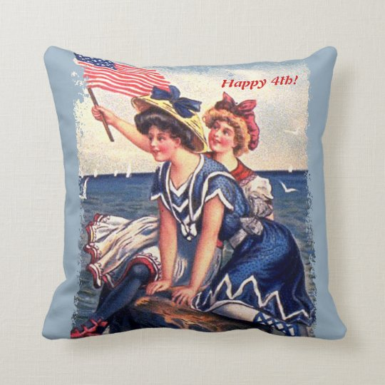 Patriotic Bathing Beauties Pillow