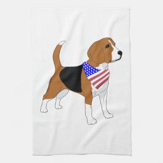 Patriotic Beagle Dog American Flag Bandanna Kitchen Towels