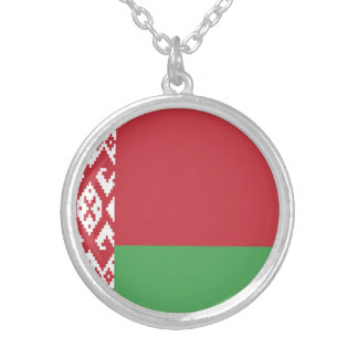Patriotic Belarusian Flag Silver Plated Necklace