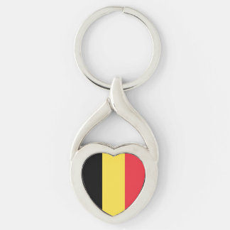 Patriotic Belgian Flag Silver-Colored Twisted Heart Keychain