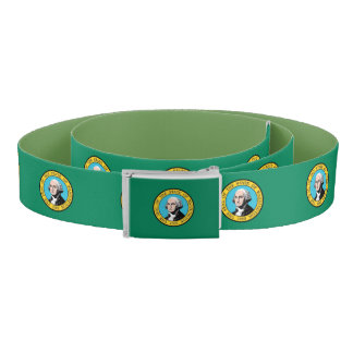 Patriotic Belt with flag of Washington State, USA