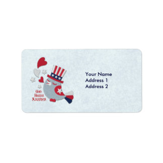 Patriotic Bird Tweets God Bless America Label