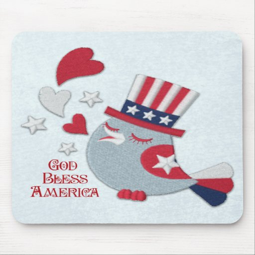 Patriotic Bird Tweets God Bless America Mouse Pads