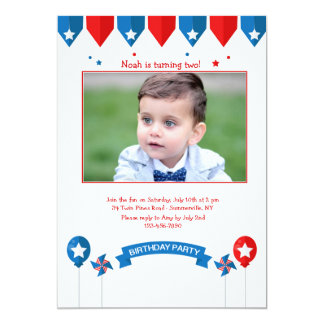 Patriotic Birthday Photo Invitation