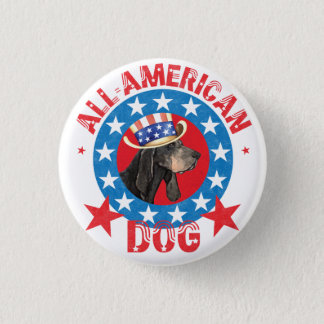 Patriotic Black and Tan Coonhound 1 Inch Round Button