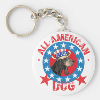 Patriotic Black and Tan Coonhound Keychain