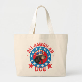 Patriotic Black and Tan Coonhound Large Tote Bag