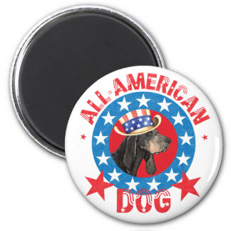 Patriotic Black and Tan Coonhound Magnet