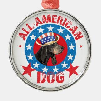 Patriotic Black and Tan Coonhound Metal Ornament