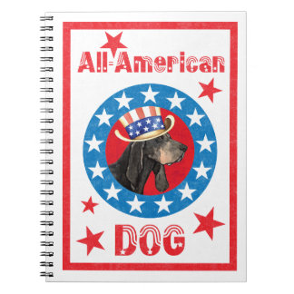 Patriotic Black and Tan Coonhound Notebooks