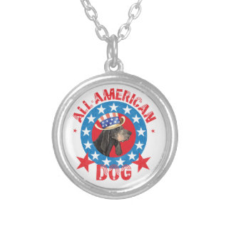 Patriotic Black and Tan Coonhound Silver Plated Necklace