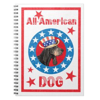 Patriotic Black and Tan Coonhound Spiral Notebook