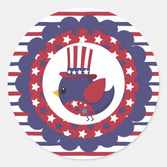 Patriotic Blue Bird Classic Round Sticker