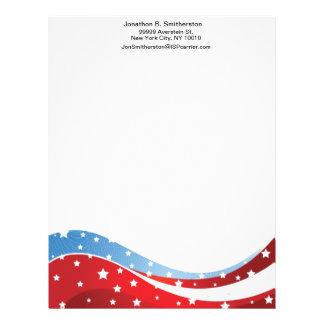 Patriotic Blue Bottom Centered Letterhead
