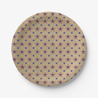 Patriotic Blue & Red Stars Paper Plate 7 Inch Paper Plate