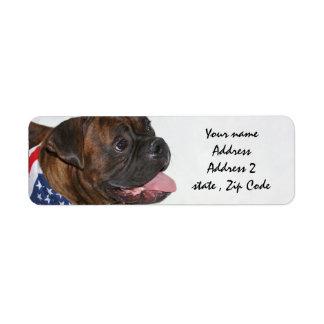 Patriotic Boxer Dog Address Labels