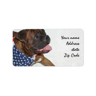 Patriotic Boxer Dog Shipping Labels