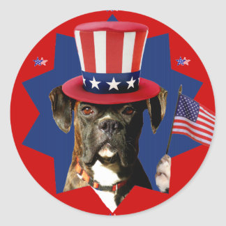 Patriotic Boxer Dog Stickers