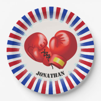 Patriotic Boxing Gloves Design Paper Party Plate 9 Inch Paper Plate