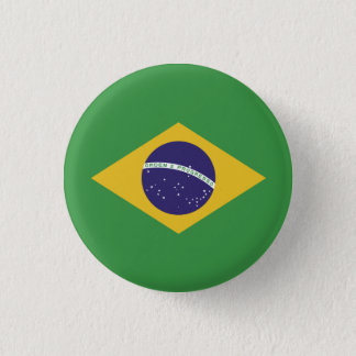 Patriotic Brazil Flag 1 Inch Round Button