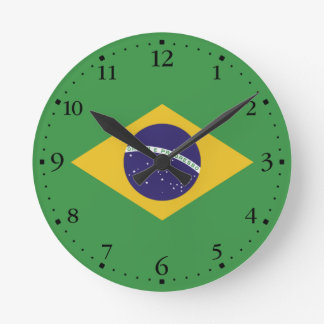 Patriotic Brazil Flag Round Clock