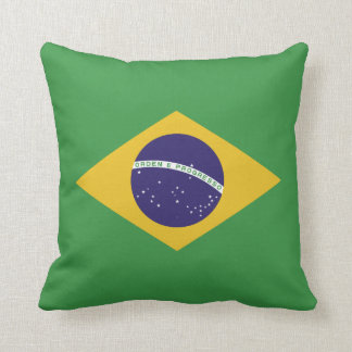 Patriotic Brazil Flag Throw Pillow