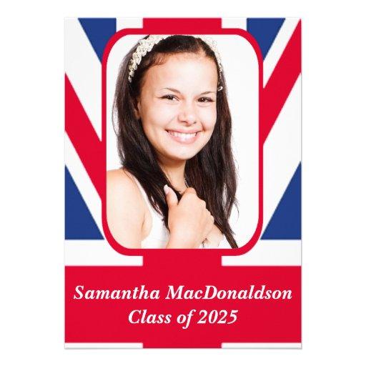 Patriotic British flag photo graduation Custom Invitation