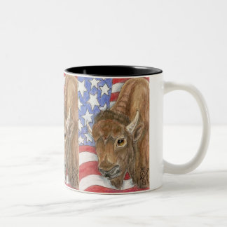 Patriotic Buffalo and American Flag Two-Tone Coffee Mug