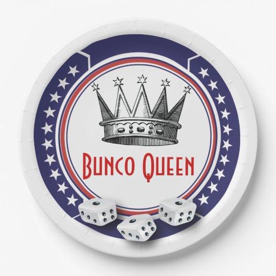 Patriotic Bunco Queen 9 Inch Paper Plate