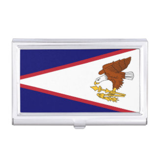 Patriotic business card holder with American Samoa