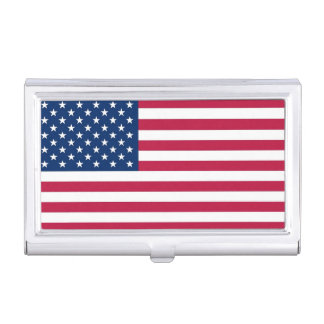 Patriotic business card holder with Flag of USA