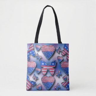 Patriotic Butterflies Hearts Tote Bag