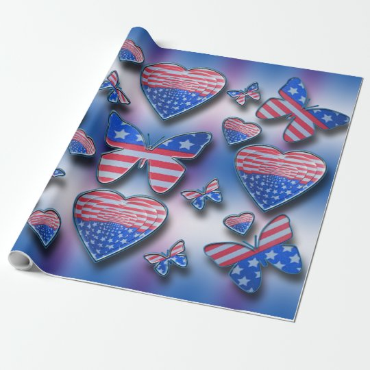 Patriotic Butterflies Hearts Wrapping Paper
