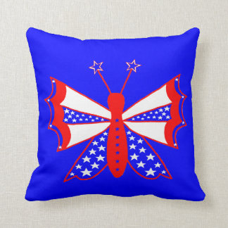 Patriotic Butterfly Throw Pillow