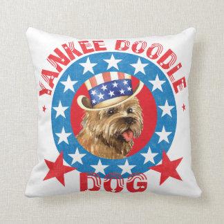 Patriotic Cairn Terrier Throw Pillow