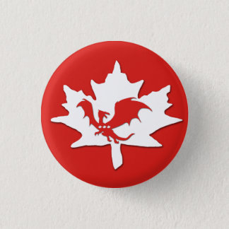 Patriotic Canadian Dragon Red 1 Inch Round Button