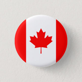 Patriotic Canadian Flag 1 Inch Round Button