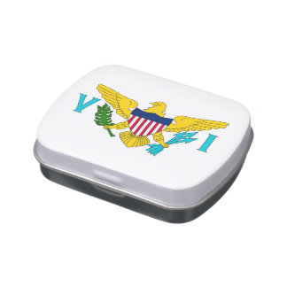 Patriotic candy tins with Flag of Virgin Islands