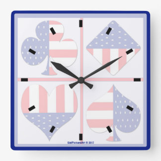 Patriotic Card Suits Square Clock
