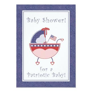 Patriotic Carriage Baby Shower Invitation