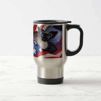 Patriotic Cat 15 Oz Stainless Steel Travel Mug