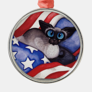 Patriotic Cat Silver-Colored Round Ornament
