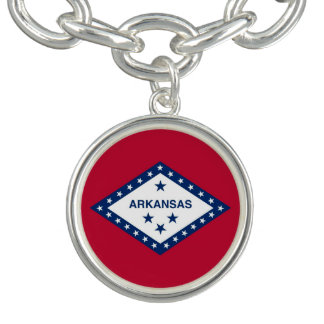 Patriotic charm bracelet with Flag of Arkansas