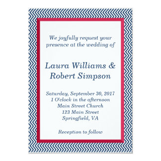Patriotic Chevron Border Wedding Invitation