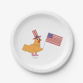 Patriotic Chicken Paper Plates 7 Inch Paper Plate