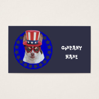 Patriotic chihuahua dog business cards