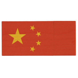 Patriotic Chinese Flag Wood USB Flash Drive