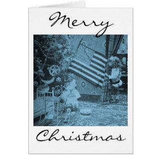 Patriotic Christmas American Flag Vintage Card