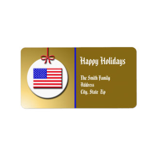 Patriotic Christmas Ornament Label